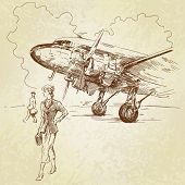 stock photo of hand drawn  - airplane - JPG