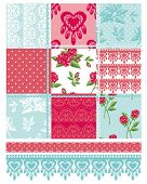 picture of quilt  - Patchwork Floral Rose Pattern and trims - JPG