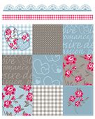 stock photo of taupe  - Shabby Chic Country Rose Vector Seamless Patterns - JPG