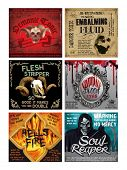 image of embalming  - Set of 6 Fun Halloween Drink Bottle labels - JPG