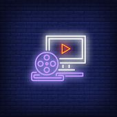 Video Production Neon Sign. Luminous Signboard With Computer And Film Reel. Night Bright Advertiseme poster