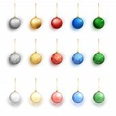 Colorful Christmas Balls Set On White Background. Christmas Decorations. Vector Object For Christmas poster