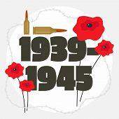 Second World War Commemorative Background. Flat Illustration Of Second World War Commemorative Backg poster