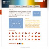 website template with icons and elements (easy editable objects, see also other stuff for web in my
