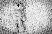 A Soft Teddy Bear, Toy For Infant, Isolated On A White Blanket Background. Sudden Infant Death Syndr poster