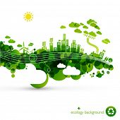 image of sustainable development  - green eco town  - JPG
