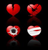 stock photo of broken hearted  - Broken hearts - JPG