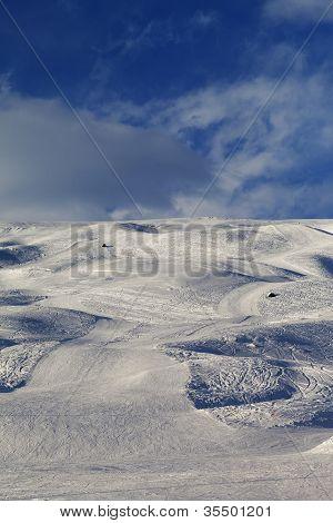 Skiing Piste In Evening