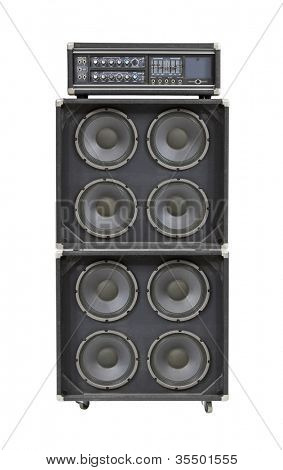 Vintage bass stack amplifier isolated on white.