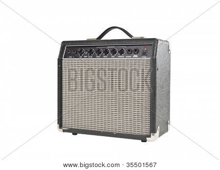 Vintage little grungy guitar amplifier with clipping path.