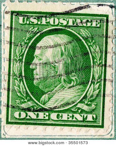 Estados Unidos - por volta de 1908-1909: uma nota com selo impresso nos Estados Unidos. Exibe a imagem de