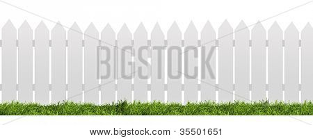 White fence with green grass isolated on white with clipping path