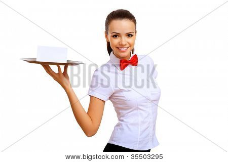 A young waitress in a white blouse with a tray in his hand