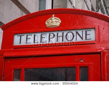 Detail Of Red Phone Booth In London