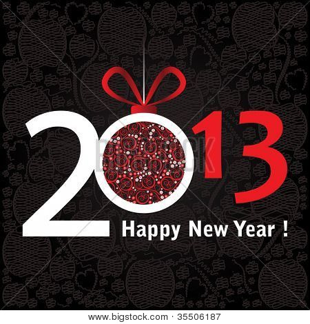 2013 Happy New Year greeting card or background.