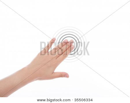 Women hand use  multi-touch gestures for tablets or touch screen device