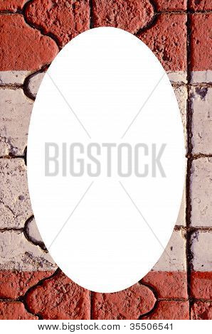 Wall Fragment Background And White Oval In Center