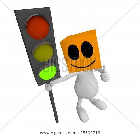3D Little Cute People Green Traffic Light