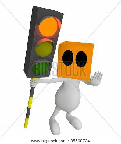 3D Little Cute People Red Traffic Light