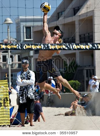 HERMOSA BEACH, CA - JULY 21: Ty Tramblie  competes in the Jose Cuervo Pro Beach Volleyball tournament in Hermosa Beach, CA on July 21, 2012.