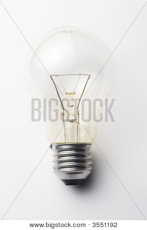 One Bright Light Bulb Isolated Over White Background