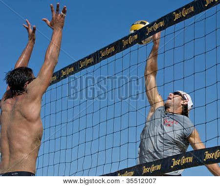 HERMOSA BEACH, CA - JULY 21: John Hyden and Danko Iordanov compete in the Jose Cuervo Pro Beach Volleyball tournament in Hermosa Beach, CA on July 21, 2012.