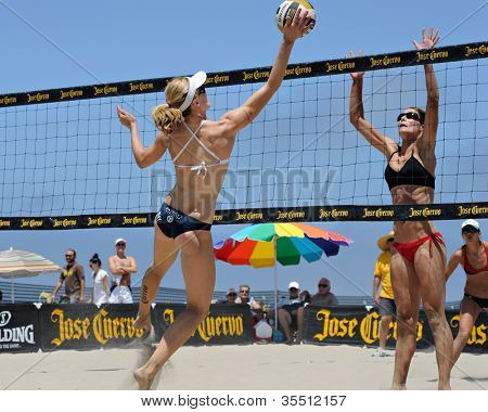 HERMOSA BEACH, CA - JULY 21: Sarah Day and Kaitlin Sather compete in the Jose Cuervo Pro Beach Volleyball tournament in Hermosa Beach, CA on July 21, 2012.