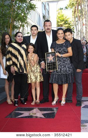 LOS ANGELES -JUL 26: Flor Silvestre; Pepe Aguilar, wife, children at a ceremony honoring Pepe Aguilar with a Star on The Hollywood Walk of Fame on July 26, 2012 in Los Angeles, California