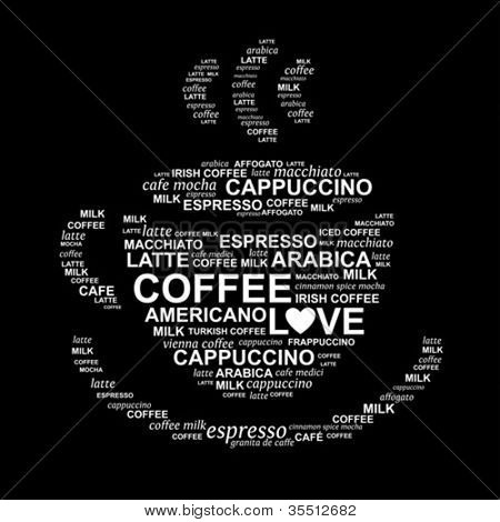 Coffee cup from words - typographic composition - vector