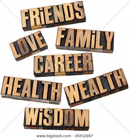 career, family, wealth, love, friends, health, wisdom  - list of popular life values  - a collage of isolated words in vintage letterpress wood type