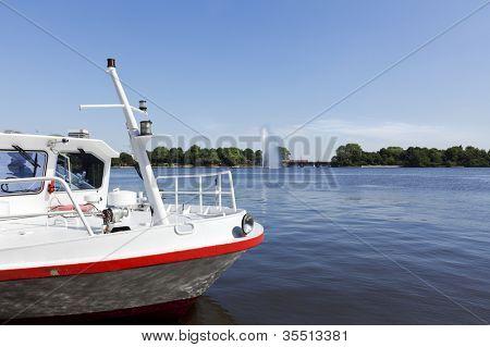 Prow of a tourist boat on Binnenalster lake at Hamburg