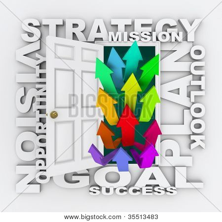 A door opening to show several arrows pointing upward, surrounded by words like plan, strategy, vision, outlook, opportunity and mission