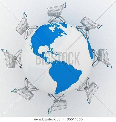 3d render illustration concept of global market. Shopping carts around the world.