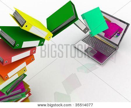 Mosca de colores carpetas en su computadora portátil
