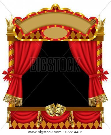 Raster version of vector image of the illuminated puppet show booth with theater masks, red curtain and signboards