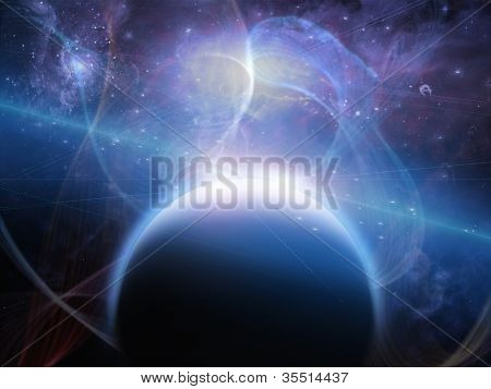 Planet with nebulous filaments