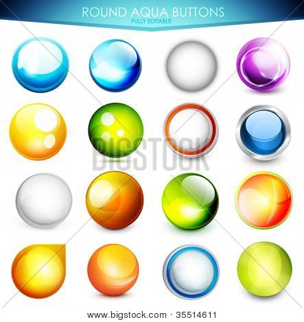 Collection of 16 various colorful aqua buttons - glossy shiny spheres. Fully editable EPS10 vector illustration