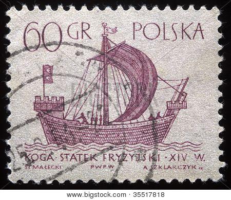 POLAND - CIRCA 1950s: A vintage postage stamp printed in Poland shows a vintage ship, circa 1950s