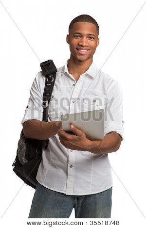 Happy African American College Student Holding Tablet on Isolated White Background