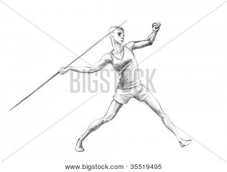 Hand-drawn Sketch, Pencil Illustration Athletes | Javelin Throw | High Resolution Scan