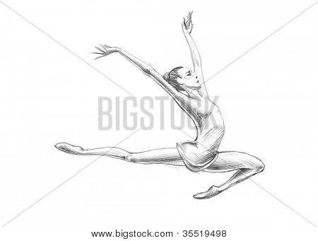 Hand-drawn Sketch, Pencil Illustration Athletes | Gymnastics - Artistic | High Resolution Scan