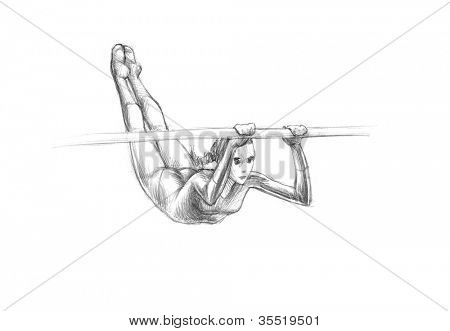 Hand-drawn Sketch, Pencil Illustration Athletes | Uneven Bars | High Resolution Scan