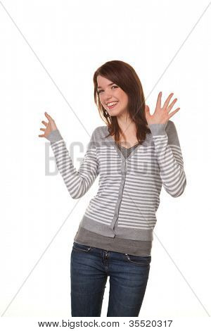 funny young woman in a relaxed mood