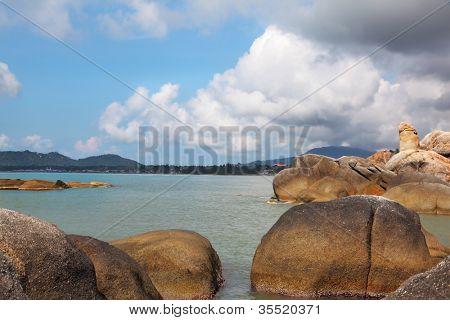 Coastal rocks of the surprising, freakish form. Koh Samui, Thailand
