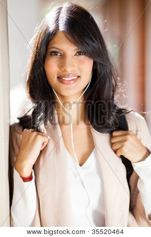 beautiful female college student closeup portrait