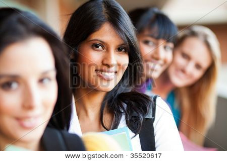 group of female college girls closeup portrait