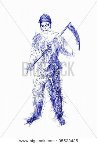 grim reaper with a scythe