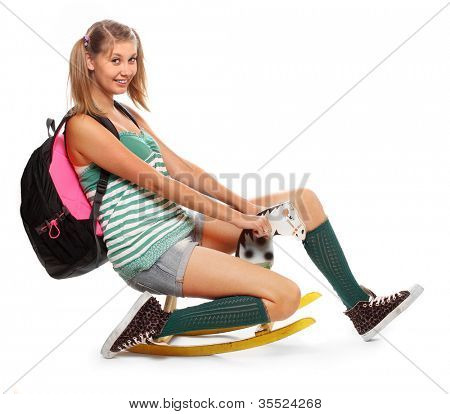 Funny schoolgirl riding back to school.