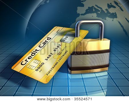 Credit card secured by a metal lock. Digital illustration.