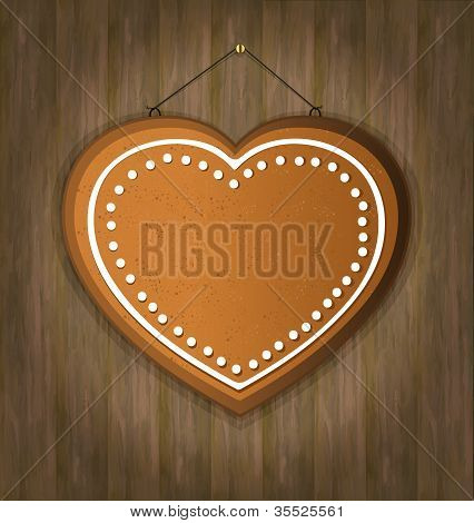 blackboard gingerbread heart wood love